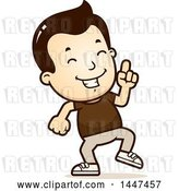 Vector Clip Art of Retro Cartoon White Boy Doing a Happy Dance by Cory Thoman