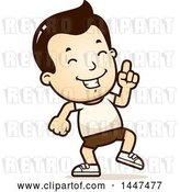 Vector Clip Art of Retro Cartoon White Boy in Shorts, Doing a Happy Dance by Cory Thoman