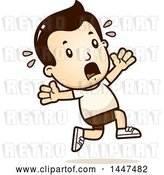 Vector Clip Art of Retro Cartoon White Boy in Shorts, Running Scared by Cory Thoman