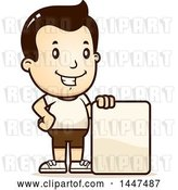 Vector Clip Art of Retro Cartoon White Boy in Shorts, with a Blank Sign by Cory Thoman