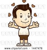 Vector Clip Art of Retro Cartoon White Boy in Shorts with Open Arms and Love Hearts by Cory Thoman