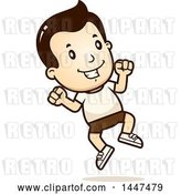 Vector Clip Art of Retro Cartoon White Boy Jumping in Shorts by Cory Thoman