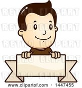 Vector Clip Art of Retro Cartoon White Boy over a Blank Ribbon Banner by Cory Thoman