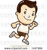 Vector Clip Art of Retro Cartoon White Boy Running in Shorts by Cory Thoman
