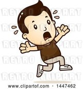 Vector Clip Art of Retro Cartoon White Boy Running Scared by Cory Thoman