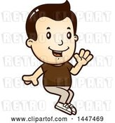 Vector Clip Art of Retro Cartoon White Boy Sitting and Waving by Cory Thoman