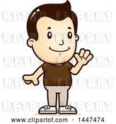 Vector Clip Art of Retro Cartoon White Boy Waving by Cory Thoman