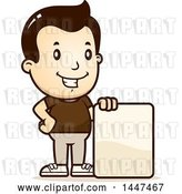 Vector Clip Art of Retro Cartoon White Boy with a Blank Sign by Cory Thoman
