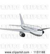Vector Clip Art of Retro Cartoon White Commercial Airliner Plane by Patrimonio