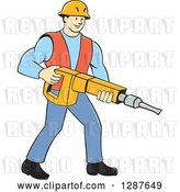 Vector Clip Art of Retro Cartoon White Construction Worker Holding a Jackhammer Drill by Patrimonio