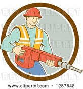 Vector Clip Art of Retro Cartoon White Construction Worker Holding a Jackhammer Drill in a Circle by Patrimonio