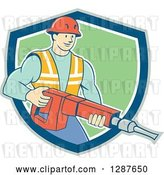 Vector Clip Art of Retro Cartoon White Construction Worker Holding a Jackhammer Drill in a Shield by Patrimonio