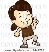 Vector Clip Art of Retro Cartoon White Girl Doing a Happy Dance by Cory Thoman