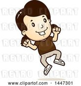 Vector Clip Art of Retro Cartoon White Girl Jumping by Cory Thoman