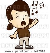Vector Clip Art of Retro Cartoon White Girl Singing by Cory Thoman