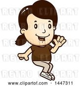 Vector Clip Art of Retro Cartoon White Girl Sitting and Waving by Cory Thoman