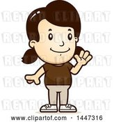 Vector Clip Art of Retro Cartoon White Girl Waving by Cory Thoman