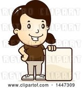 Vector Clip Art of Retro Cartoon White Girl with a Blank Sign by Cory Thoman