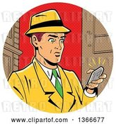 Vector Clip Art of Retro Cartoon White Guy in a Fedora Hat and Yellow Suit, Holding a Ringing Smart Phone by Clip Art Mascots