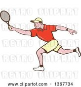 Vector Clip Art of Retro Cartoon White Guy Playing Tennis by Patrimonio