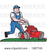 Vector Clip Art of Retro Cartoon White Guy Pushing a Tough Red Lawn Mower Mascot by Patrimonio