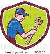 Vector Clip Art of Retro Cartoon White Handy Guy Holding a Spanner Wrench in a Shield by Patrimonio