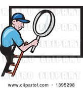 Vector Clip Art of Retro Cartoon White Handy Guy on a Ladder, Holding a Magnifying Glass over a Billboard Sign by Patrimonio