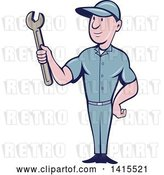 Vector Clip Art of Retro Cartoon White Handy Guy or Mechanic Holding a Spanner Wrench by Patrimonio