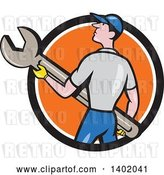 Vector Clip Art of Retro Cartoon White Handy Guy or Mechanic Holding a Spanner Wrench in a Black White and Orange Circle by Patrimonio