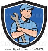 Vector Clip Art of Retro Cartoon White Handy Guy or Mechanic Holding a Spanner Wrench in Folded Arms in a Black White and Blue Shield by Patrimonio