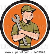 Vector Clip Art of Retro Cartoon White Handy Guy or Mechanic Holding a Spanner Wrench in Folded Arms in a Black White and Orange Circle by Patrimonio