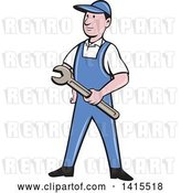 Vector Clip Art of Retro Cartoon White Handy Guy or Mechanic Holding a Wrench by Patrimonio