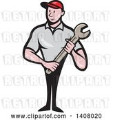 Vector Clip Art of Retro Cartoon White Handy Guy or Mechanic Standing and Holding a Spanner Wrench by Patrimonio