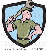 Vector Clip Art of Retro Cartoon White Handy Guy or Mechanic Standing and Holding a Spanner Wrench in a Black and Blue Shield by Patrimonio