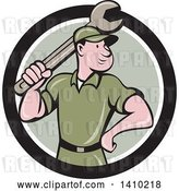 Vector Clip Art of Retro Cartoon White Handy Guy or Mechanic Standing and Holding a Spanner Wrench in a Black White and Green Circle by Patrimonio