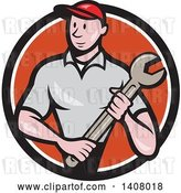 Vector Clip Art of Retro Cartoon White Handy Guy or Mechanic Standing and Holding a Spanner Wrench in a Black White and Orange Circle by Patrimonio