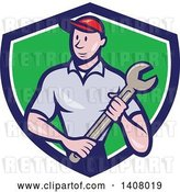 Vector Clip Art of Retro Cartoon White Handy Guy or Mechanic Standing and Holding a Spanner Wrench in a Blue White and Green Shield by Patrimonio