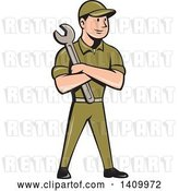 Vector Clip Art of Retro Cartoon White Handy Guy or Mechanic Standing and Holding a Spanner Wrench in Folded Arms by Patrimonio