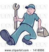 Vector Clip Art of Retro Cartoon White Handy Guy or Mechanic Walking with a Spanner Wrench and Tool Box by Patrimonio