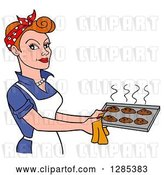 Vector Clip Art of Retro Cartoon White Lady Holding a Tray of Hot Fresh Cookies by LaffToon