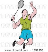 Vector Clip Art of Retro Cartoon White Male Badminton Player Jumping with a Racket by Patrimonio