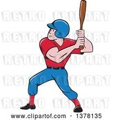 Vector Clip Art of Retro Cartoon White Male Baseball Player Athlete Batting by Patrimonio