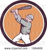 Vector Clip Art of Retro Cartoon White Male Baseball Player Athlete Batting in a Brown White and Orange Circle by Patrimonio