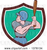 Vector Clip Art of Retro Cartoon White Male Baseball Player Athlete Batting in a Brown White and Turquoise Shield by Patrimonio