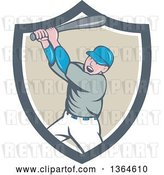 Vector Clip Art of Retro Cartoon White Male Baseball Player Athlete Batting in a Gray White and Taupe Shield by Patrimonio