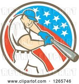 Vector Clip Art of Retro Cartoon White Male Baseball Player Batting in an American Circle by Patrimonio