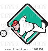 Vector Clip Art of Retro Cartoon White Male Baseball Player Pitching, Emerging from a Turquoise White and Black Diamond by Patrimonio