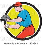 Vector Clip Art of Retro Cartoon White Male Baseball Player Pitching in a Black White and Green Circle by Patrimonio