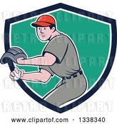 Vector Clip Art of Retro Cartoon White Male Baseball Player Pitching in a Blue White and Turquoise Shield by Patrimonio