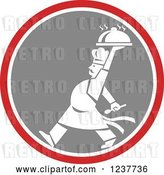 Vector Clip Art of Retro Cartoon White Male Chef Carrying a Cloche Platter in a Red and Gray Circle by Patrimonio